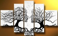 hand-painted oil wall art wind floating tree home decoration Landscape Framed oil painting on canvas 5pcs/set mixorde