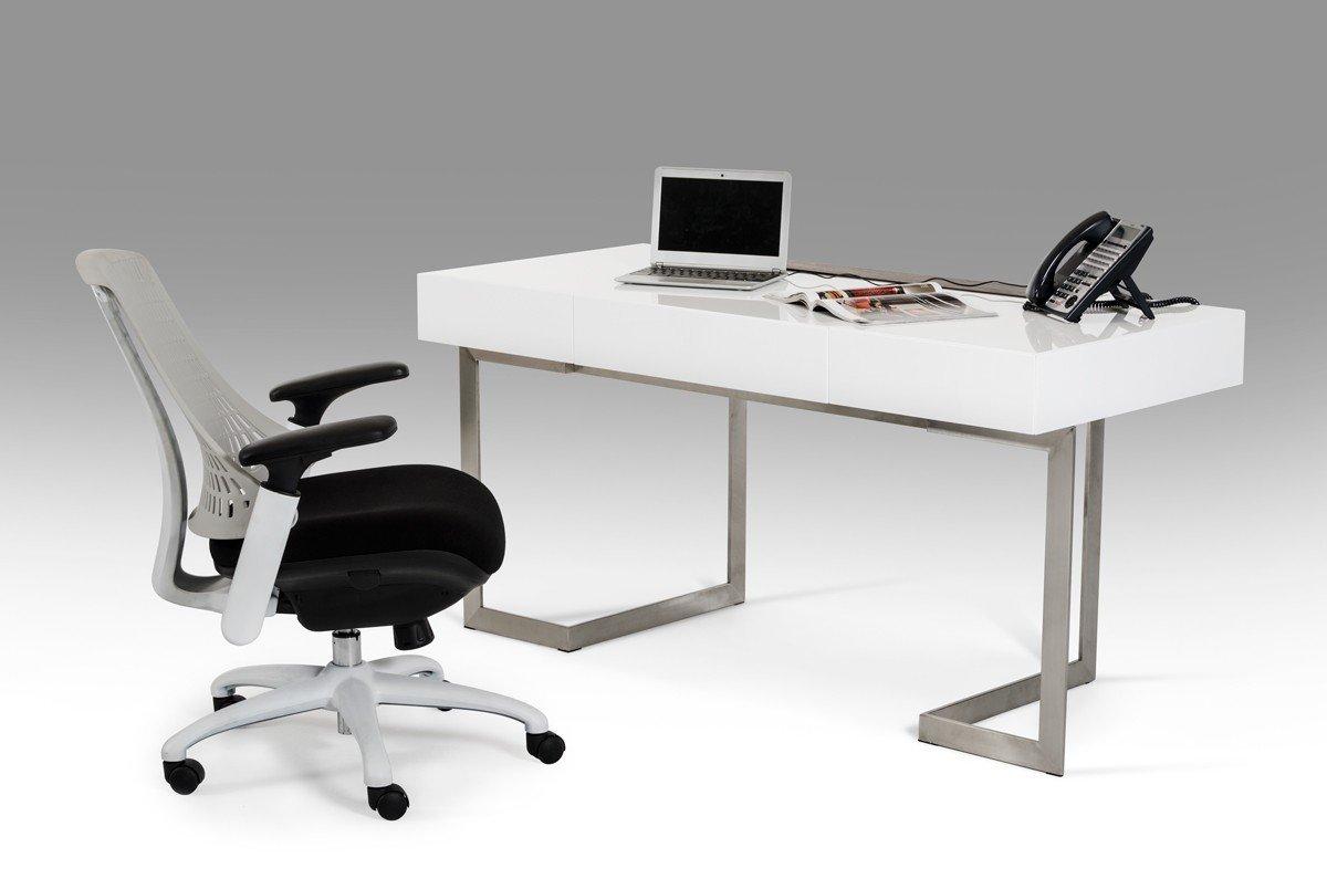 1PerfectChoice Modrest Sharp Modern White Office Desk