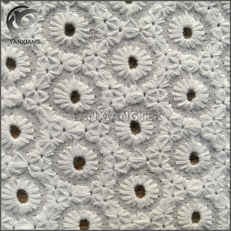 Wholesale price 100% cotton lace embroidery eyelet fabric