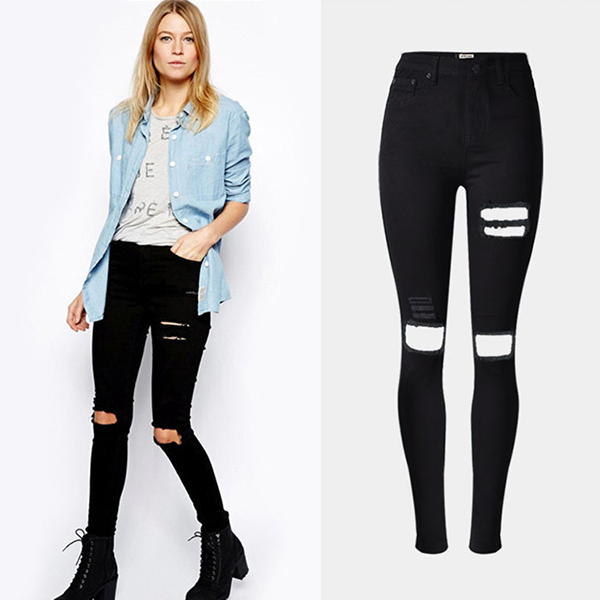 2016 Autumn Fashion Women High Waist Damaged Denim Jean Ladies Black Knee Holes Skinny Shredded Ripped Jeans Mujer