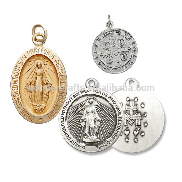 customized decorative stamping holy drilling engraved double side pearl gold anti-pewter plated platinum religious medals