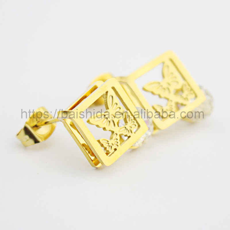 Baicheng square butterfly clasp earrings bridal jewelry gift set