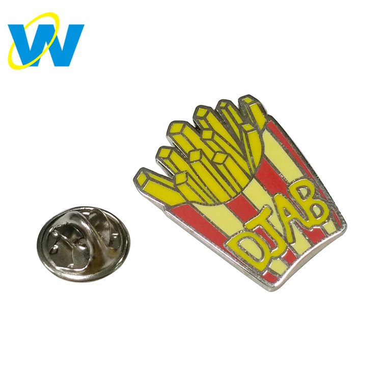 2018 Newest product french fries enamel metal pins hard lapel pin custom logo