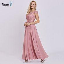 Длинное вечернее платье персикового цвета, недорогое кружевное платье с рукавами-крылышками, на молнии, свадебные вечерние платья, вечерне...(Китай)