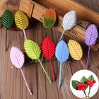 Artificial Silk Wired Leaf mini rose Leaves for decoration DIY Craft Cake Decoration