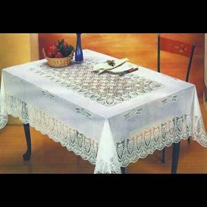 "White Crocheted Vinyl Lace Tablecloth: 54""x72""/60""x90""/60""x104""/60"" Round (60"" Round) (60"" Round)"
