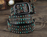 1.5'' Western rhinestone belt plain leather belt cowgirl belt