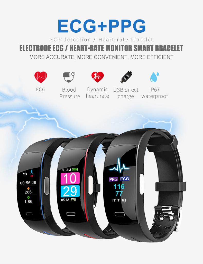 P3 plus smart band P3plus PPG+ECG Blood pressure monitoring sport fitness bracelet