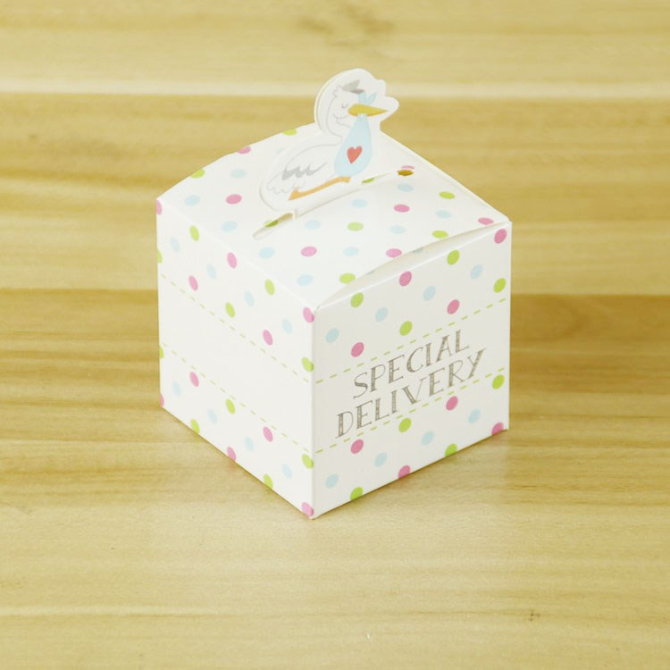Hot selling stork baby shower party small product packaging gift box <strong>custom</strong>