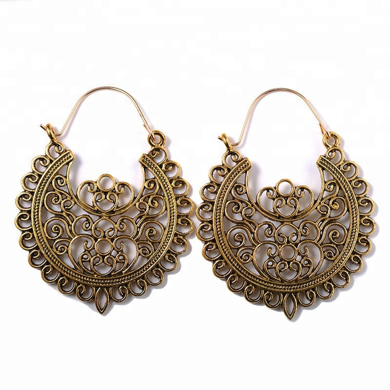 vintage boho mexican chunky cheap gold earrings