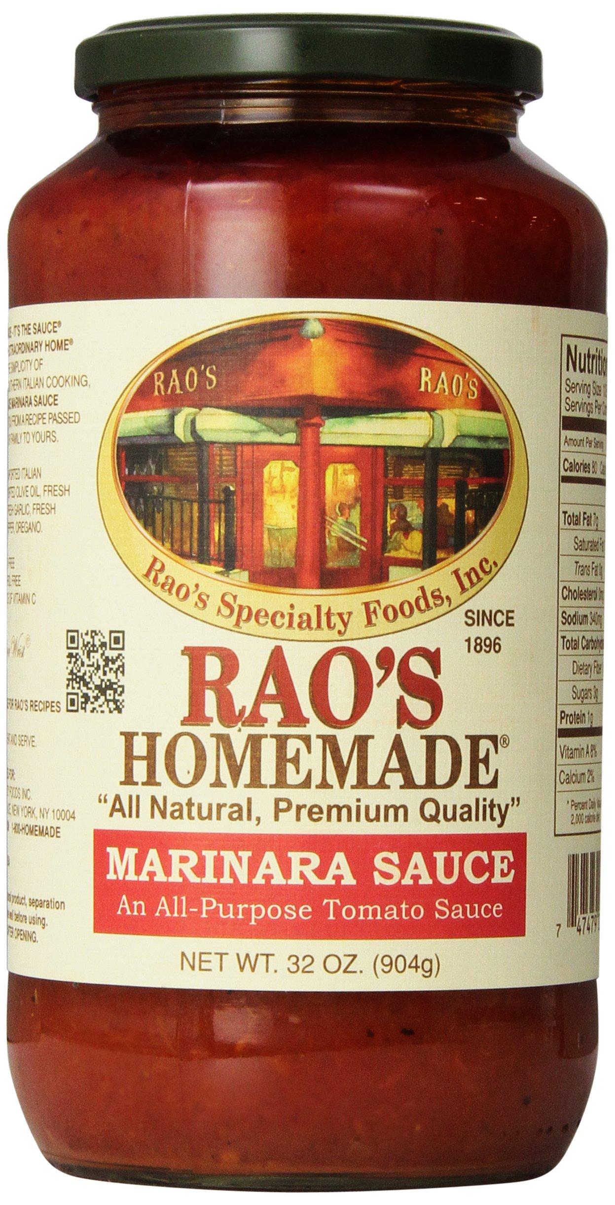 Rao's Specialty Foods, Marinara Sauce, 32 oz, Classic Italian Tomato Sauce, Great on Pasta, Made With Fresh Basil, Italian Tomatoes, Garlic, and Seasonings, No Sugar Added