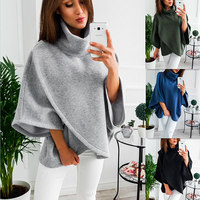 2018 Women High Collar Hoodies Thick Warm Irregular Flare Sleeve Sweatshirt Tops Autumn Winter Ladies Solid Loose Pullover Coats