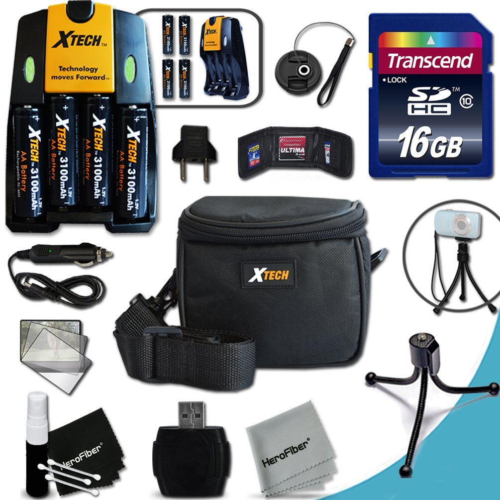 Ideal Accessory Kit for Nikon Coolpix L830 Digital Camera Includes 16GB High Speed Memory Card + 4 AA High Capacity 3100mAh Rechargeable Batteries with Quick AC/DC Charger + Padded Medium size Case + Universal Card Reader + Mini Table Tripod + Memory Case