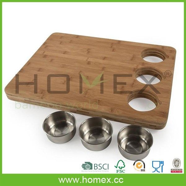 Attractive bamboo chopping blocks with container / HOMEX - FSC / BSCI