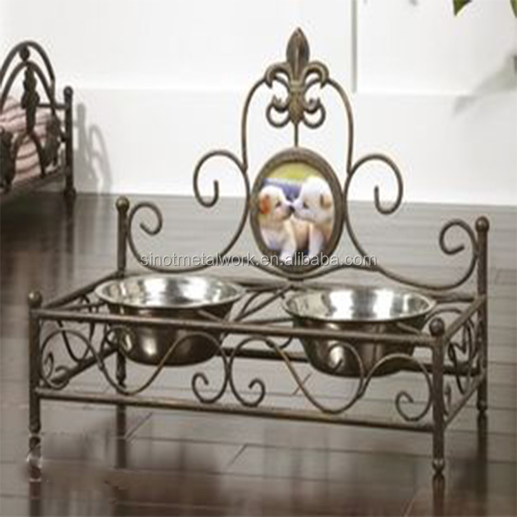 2016 new pet accessories personalized wrought iron pet dog bowl stand with your pet photo ceramic dog bowls with metal stand