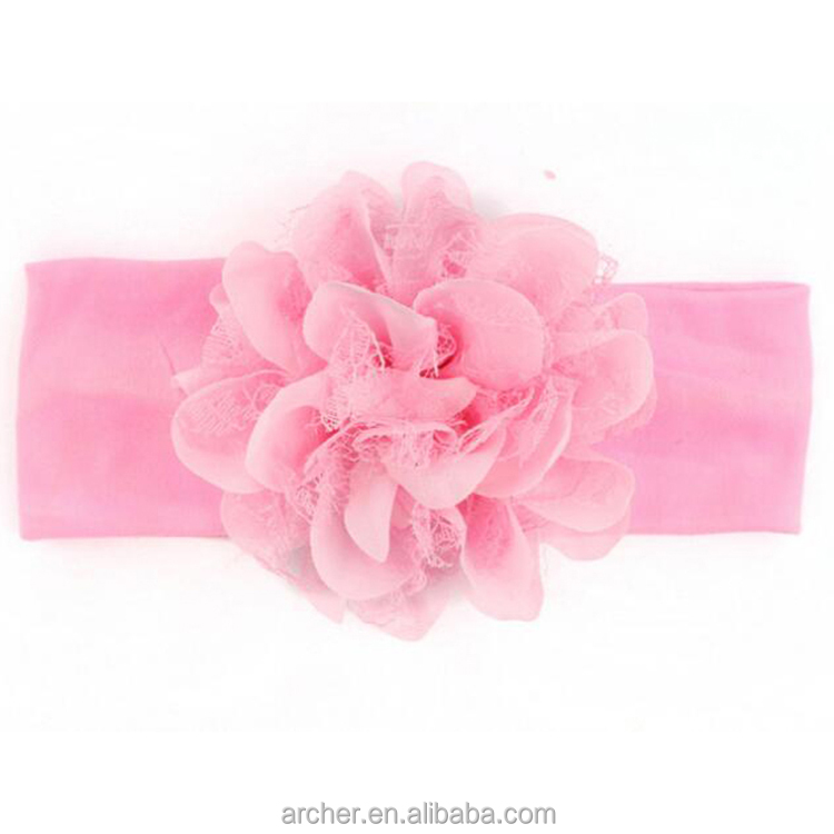 Hot-sales children large flower head band cotton head headbands Chiffon flower heads with HA-1113
