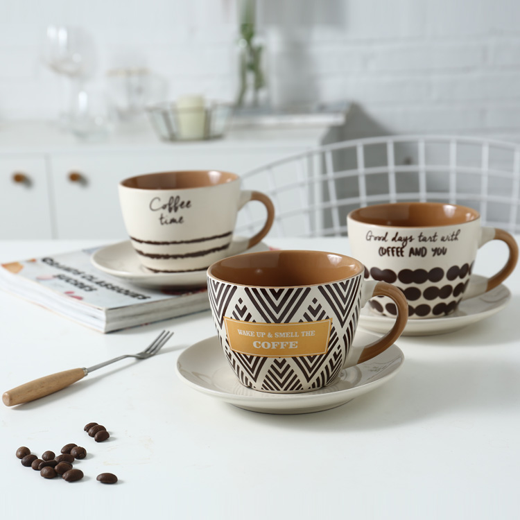220ml Custom logo Two tone color glaze gold decal stoneware espresso cup with saucer sets ceramic