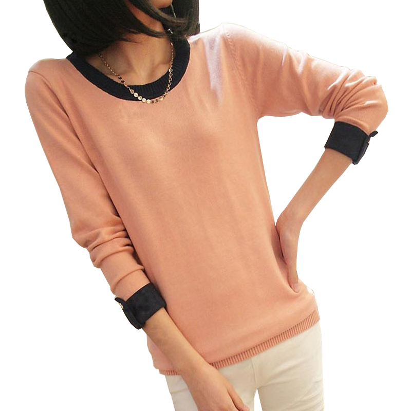 Multi-colors Slim Long Sleeve O-Neck Knitted Women Sweater Pullovers 2015 Ladies Autumn Winter Casual Jumper Knitwear Tricotado