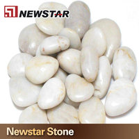 Chinese decorative smooth white round pebble stone