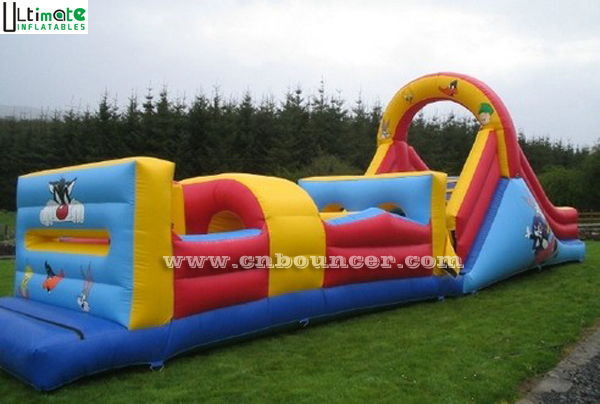 Commercial outdoor inflatable obstacle course with digital printing aniamal