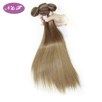 YF Virgin 100% Unprocessed Color 8 Light Brown Ash Blonde Indian Straight Wave Hair Weave Bundles Remy Human Hair