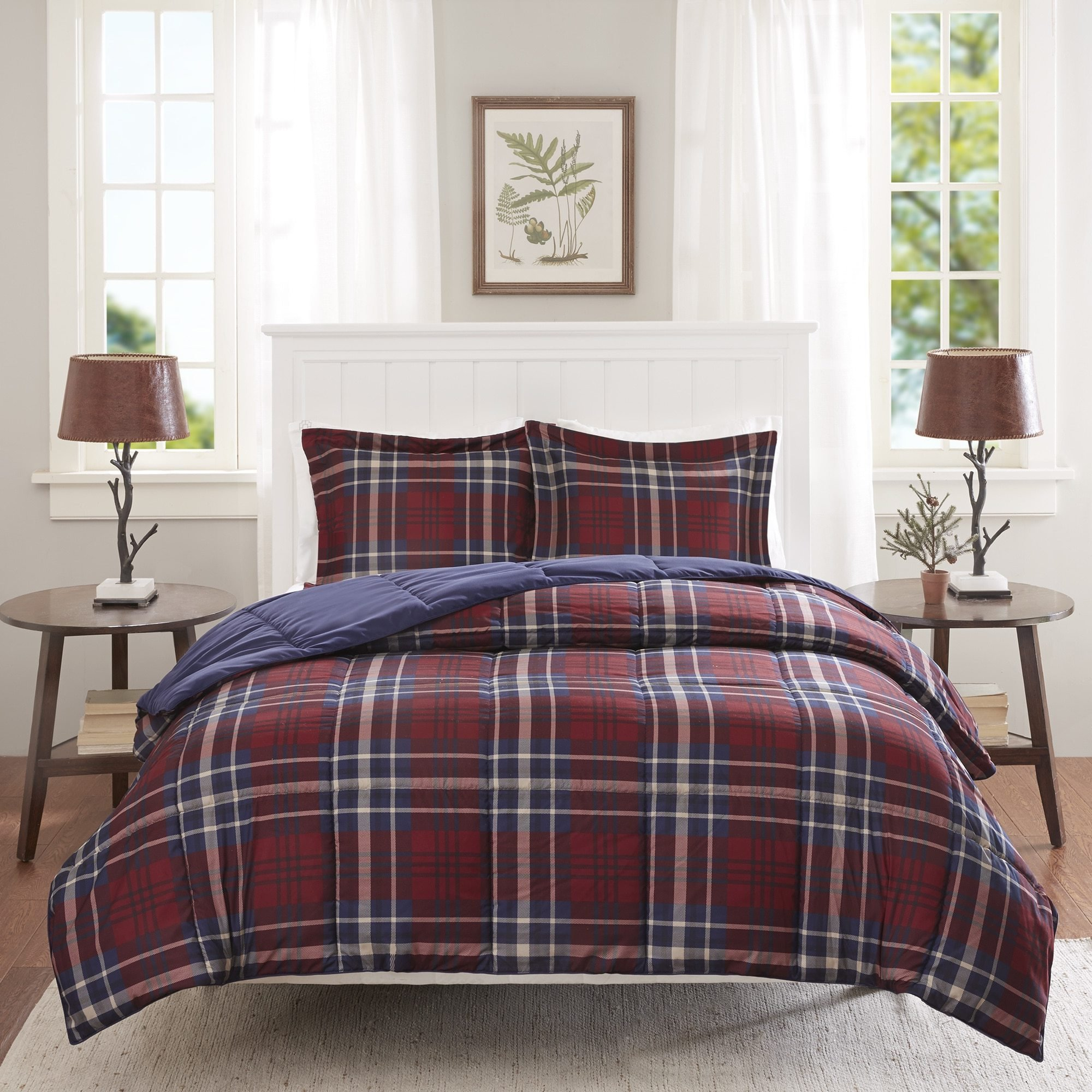 D&H 2 Piece Navy Blue Burgundy Red Plaid Comforter Twin/Twin XL Set, Cozy Warm Cabin Themed Bedding Checked Lumberjack Pattern Lodge Southwest Tartan Madras Cottage, Reversible Solid Color Microfiber