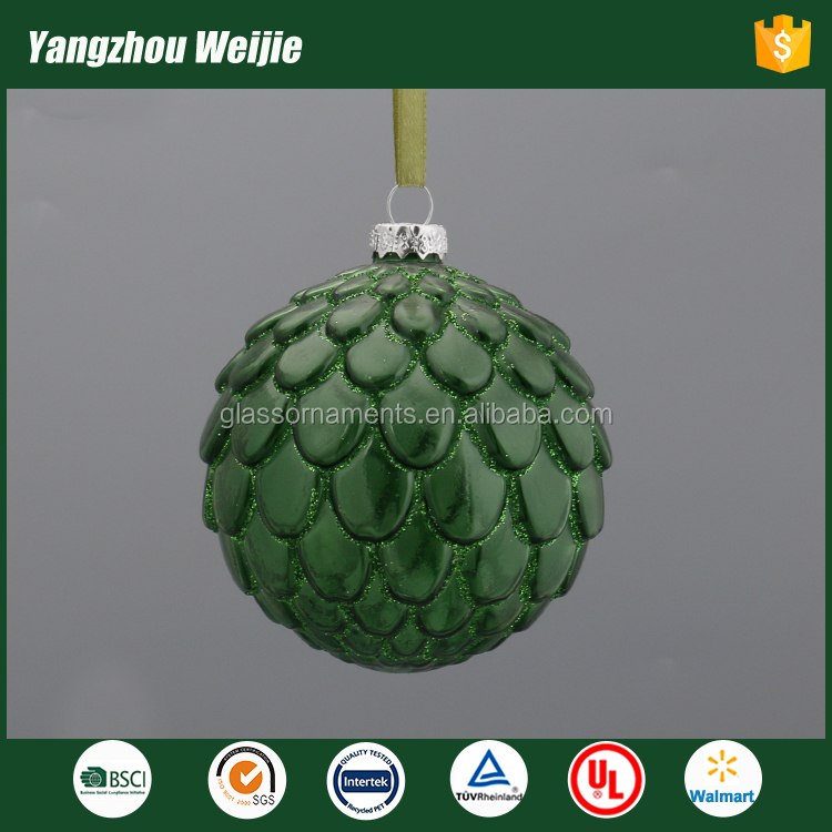 2017 colorful decorating big christmas green glass balls decoration