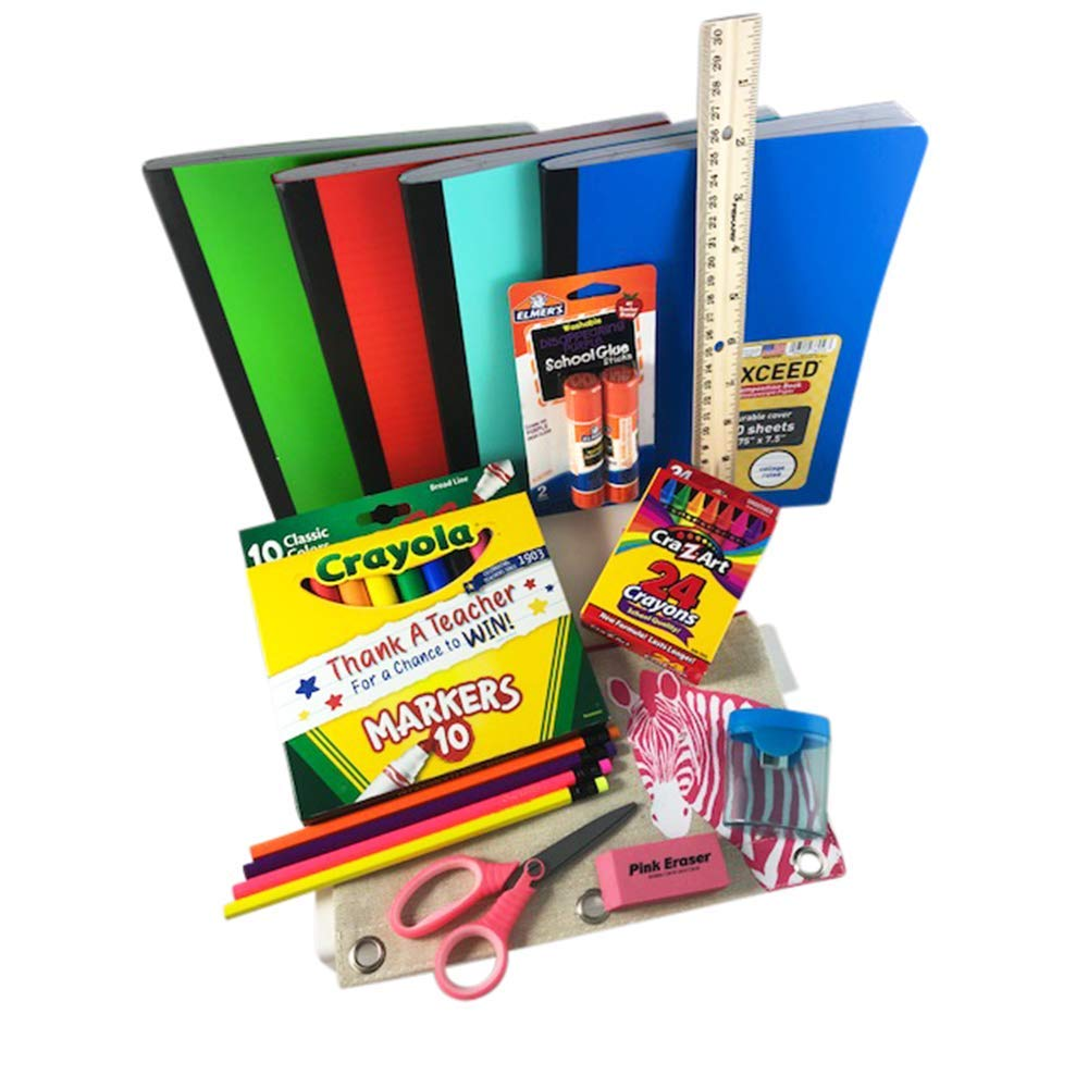 Back to School Bundle/Starter Kit - Great for Grade School - Includes Pink Zebra Pouch Supply Pouch, notebooks, Ruler, Markers, Crayons, Pencils, Pencil Sharpener, Eraser, and Glue Sticks
