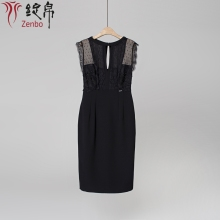 Higher Fashion Clothing Factory Lace Combo Crepe Fabric Sleeveless Women Sexy Dress