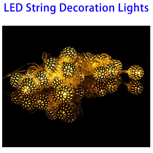 Led String Light Bulbs for Christmas, 2.7m 3W 20 LED Metal Christmas Decoration Light