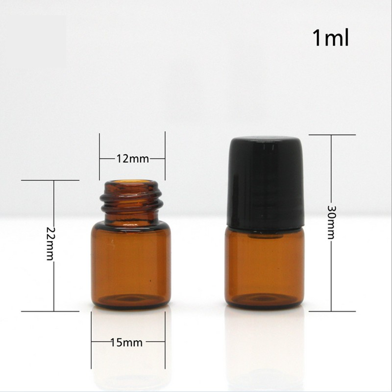 1ml Amber mini flacon via Essential Oil Empty Glass Roll-On refillable Bottles with metal roller ball & plastic black cap
