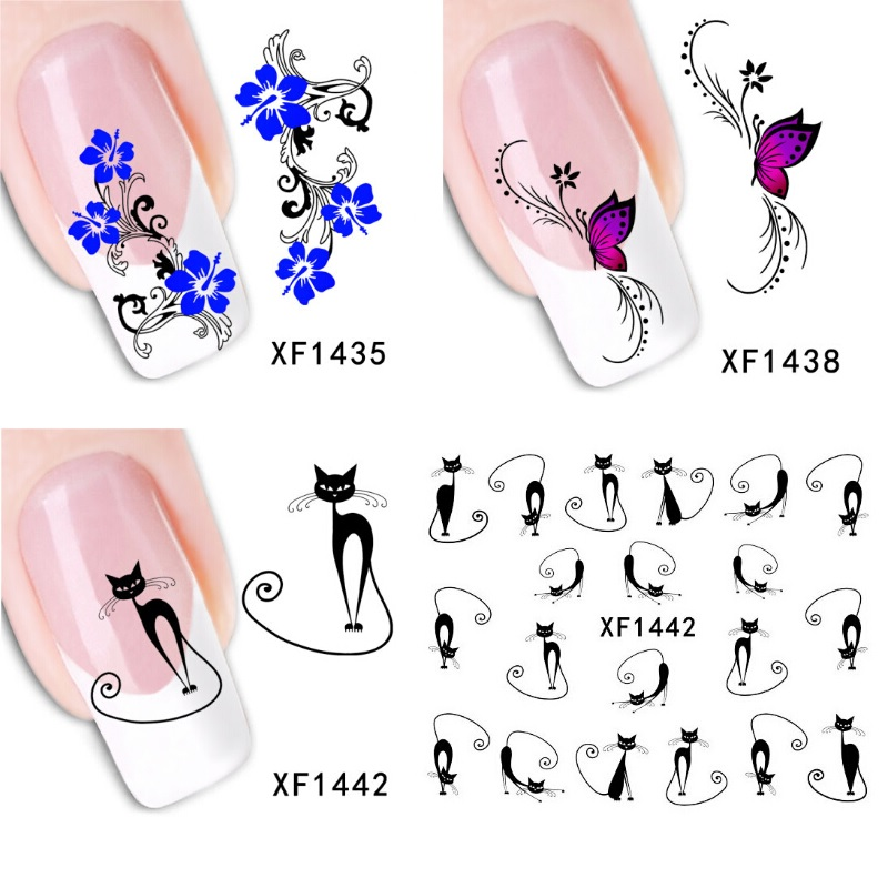 Flowers Black Cat Nail Stickers unha postica autocolante ricostruzione unghie nail art water decals nail art