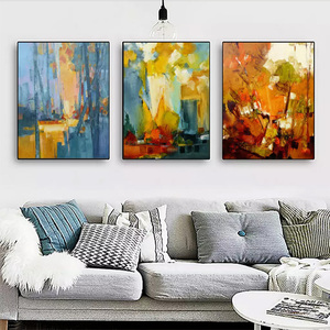 Modern warm color painting abstract art watercolor graffiti triptych wall art for home wall art