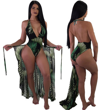 2019 new sexy swimwear leaf print hanging neck straps two-piece blouse+one-piece swimsuit