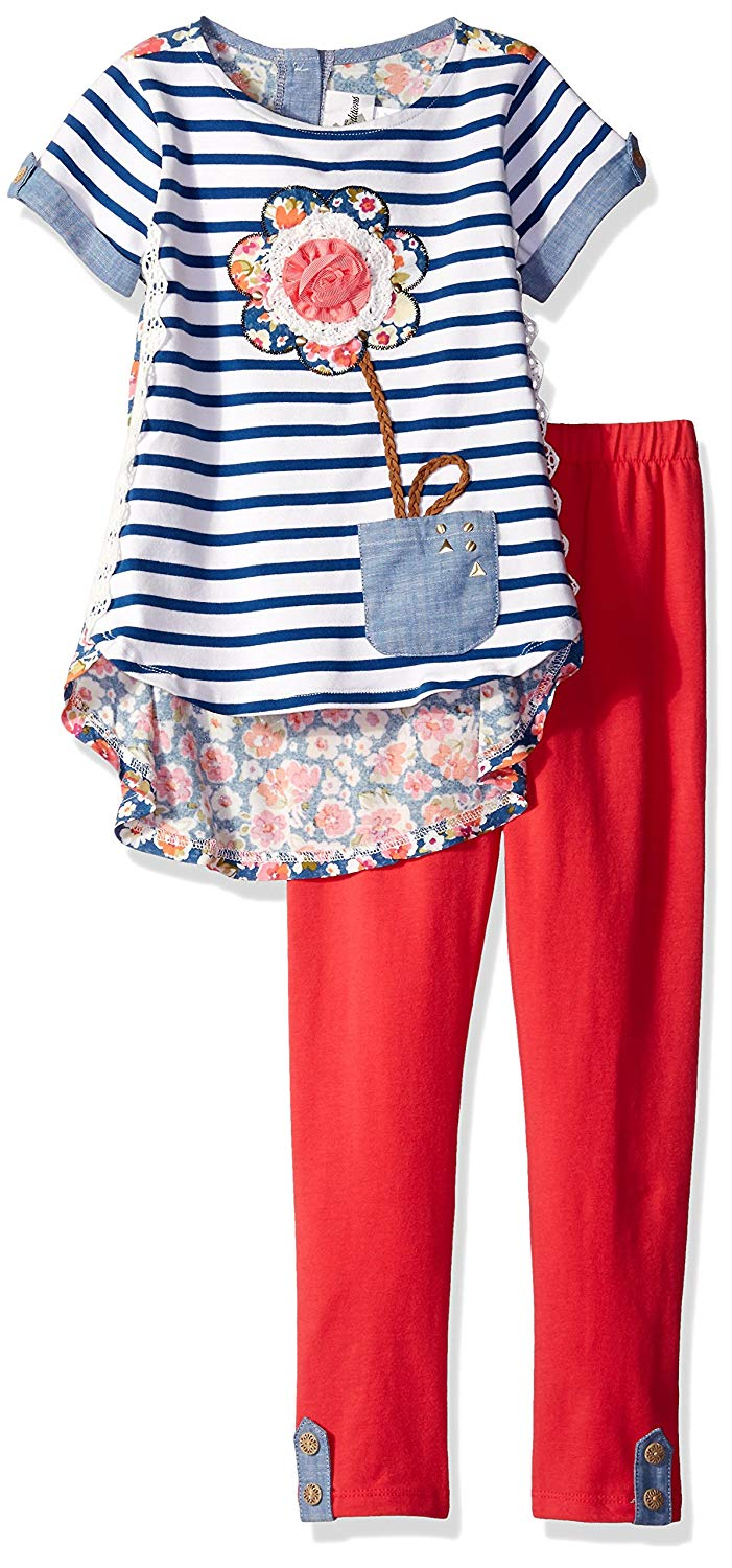 51b1012fb Get Quotations · Rare Editions Girls Stripe to Floral Applique Legging  Setirls' Blue / White Stripe to Floral