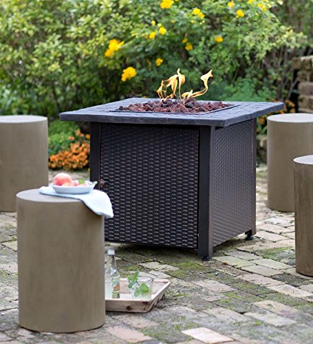 Get Quotations · Wicker Propane Gas Fire Pit, ...