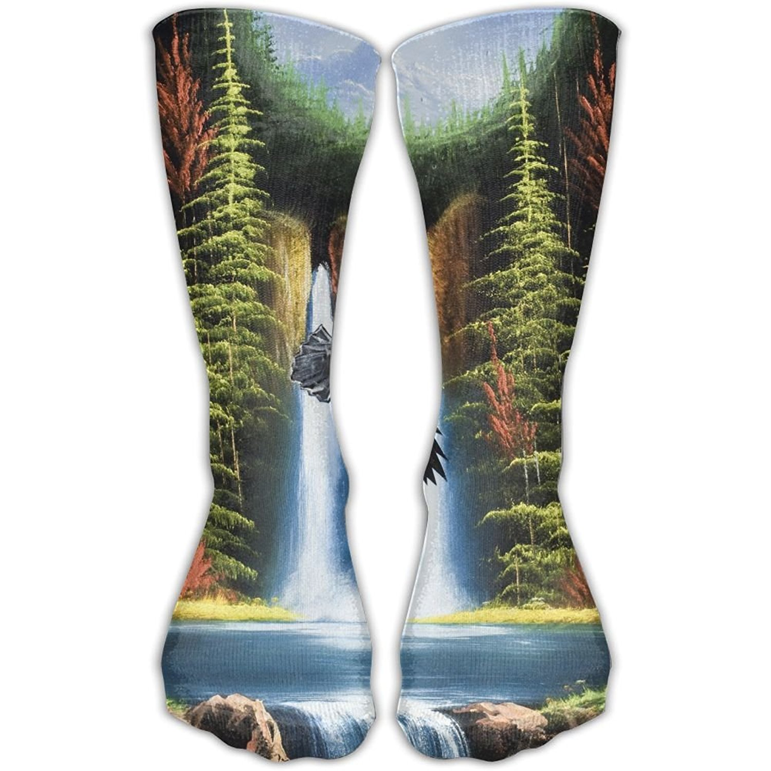 Women Crew Socks Thigh High Knee Forest Waterfall Long Tube Dress Legging Casual Compression Stocking