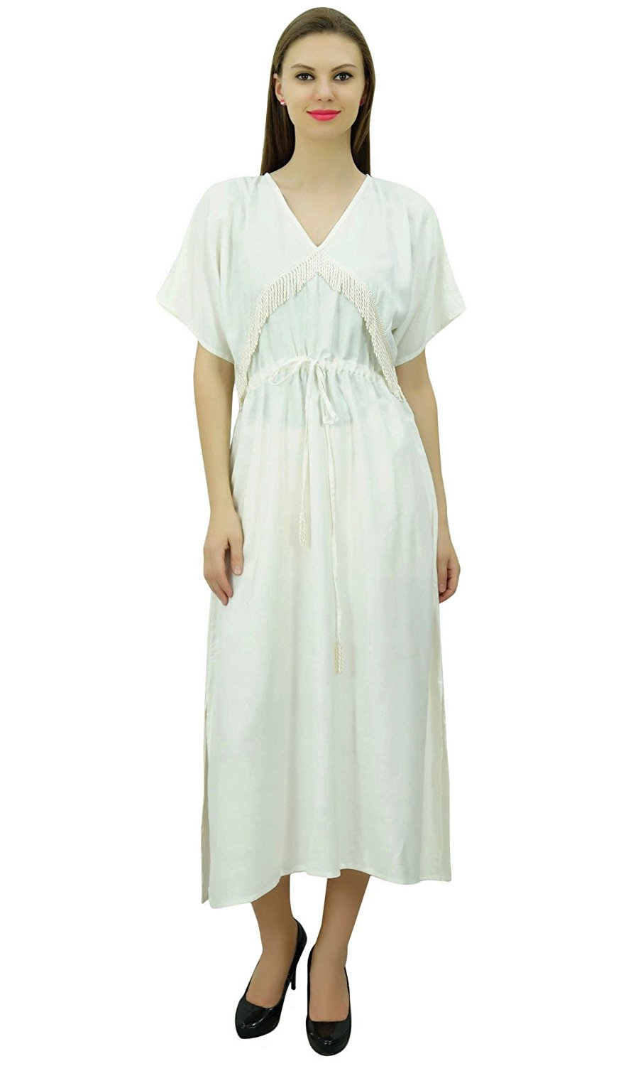 7466d3c842 Get Quotations · Bimba Rayon Solid Pattern Caftan Maxi Dress Women's Night  Gown Kimono Dress Cover up