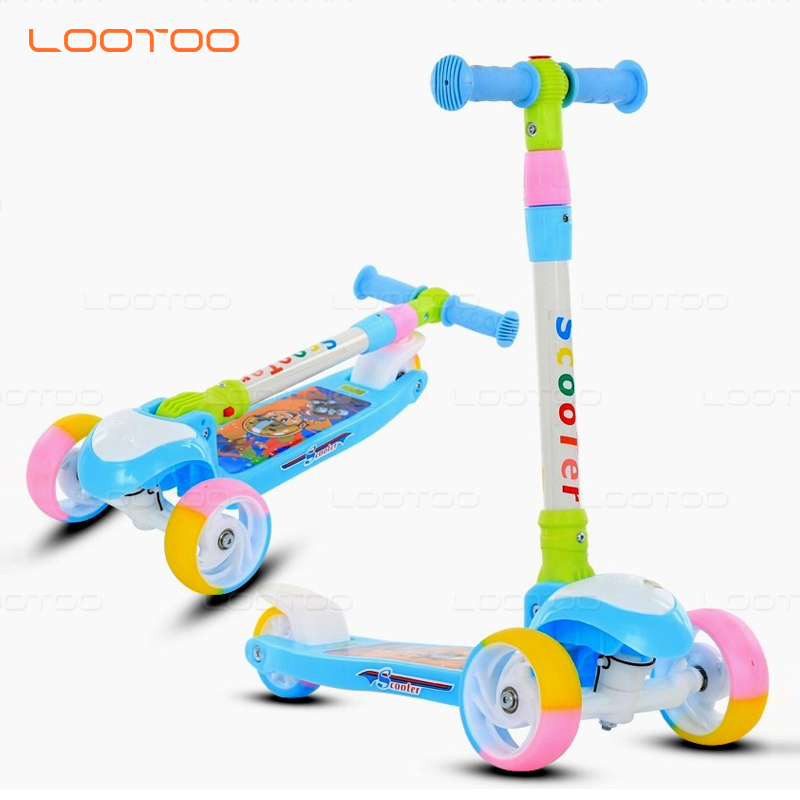 Cheap baby kick skate 3 pu wheels scooter for kids with protective gears