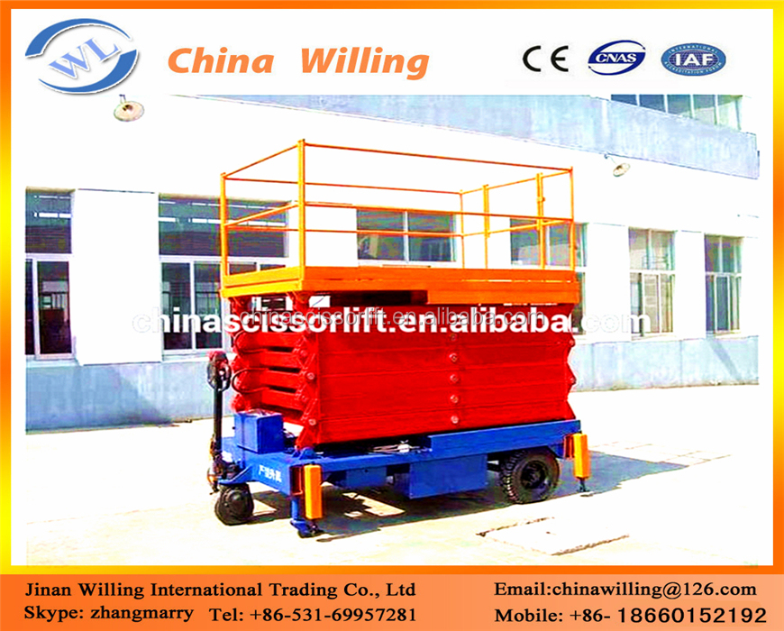 Top quality 15M small useful scissor lift ladder hydraulic automatic electric scissor lift scaffolding