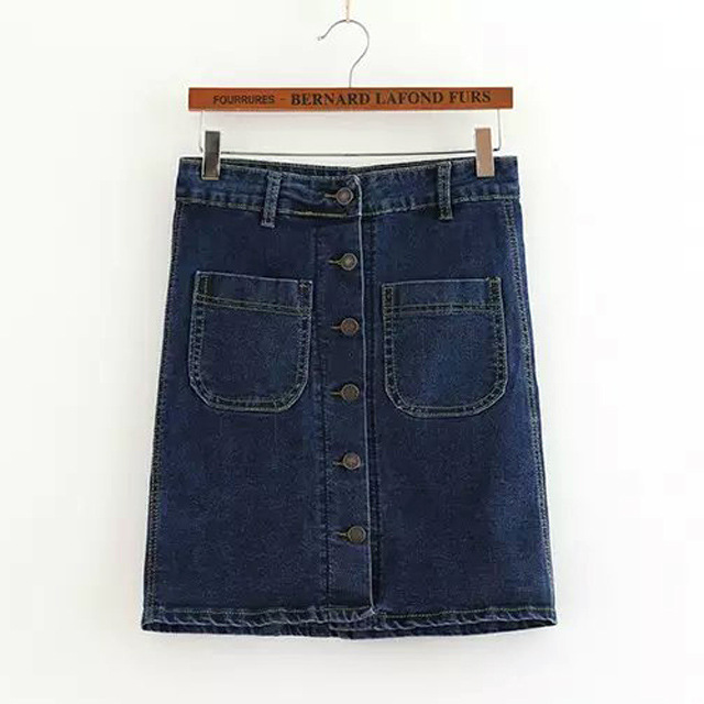 302d69ae6ce Get Quotations · Free Shipping 2015 summer new style skirts solid-colored  two Pocket denim high-waisted