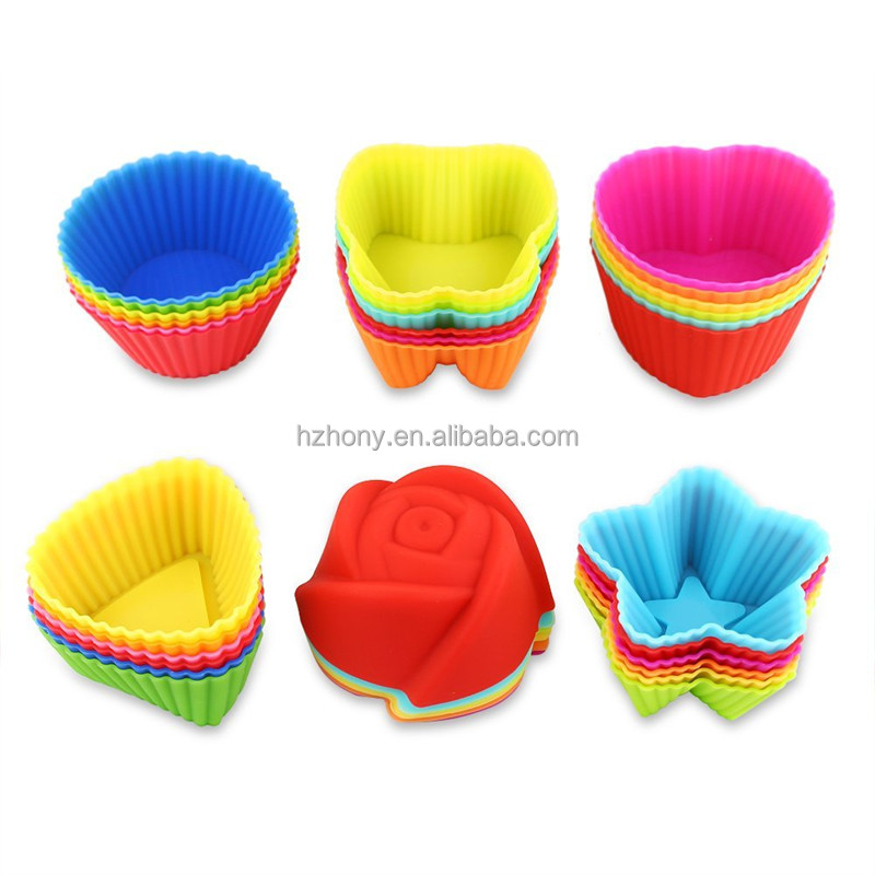 36 Pcs 6 Shapes 6 Colors Non-Stick Food Grade Heat Resistant Reusable Silicone Mini Muffin Cups Baking Mold