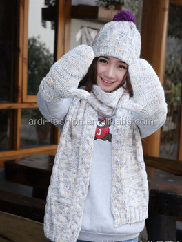 Heavy Chunky Design Ladies Knitted Hat Scarf Gloves Set - Buy ... 6b7b150fa31