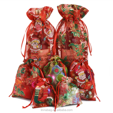 Custom Wine Bottle Farty Favors Gift Packaging Organza Drawstring Christmas Bag