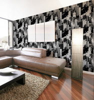Environmental liiving walls vinyl embossed black wallpaper of rooms decoration
