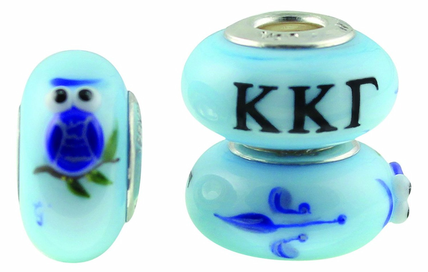 Kappa Kappa Gamma Hand Painted Fenton Glass Bead Fits Most European Style Charm Bracelets