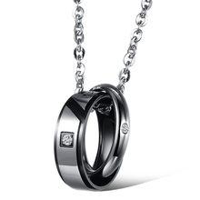ZORCVENS модные ювелирные изделия из кубического циркония, круглая цепочка с Луной, золотой цвет, сталь, для влюбленных, пара ожерелья и подвеск...(Китай)