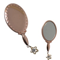 custom mini small handle compact pocket cosmetic mirror folding portable makeup vanity mirror with handle