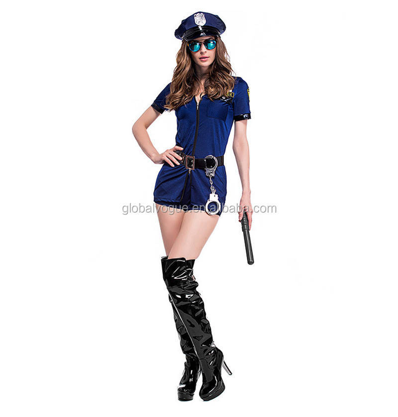 Policewoman Uniforms Blue Zipper Police Halloween Carnival Party ...