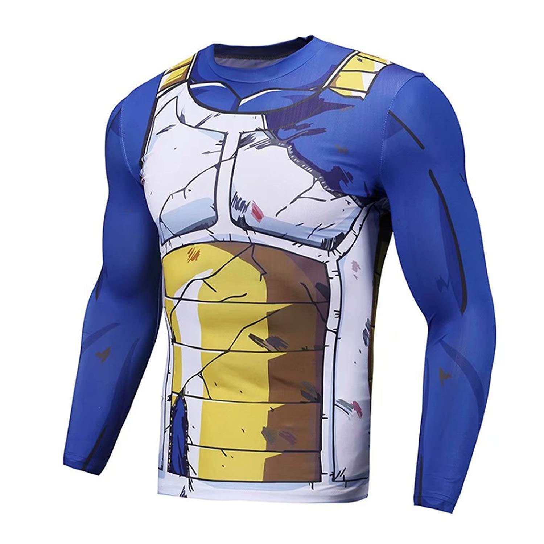 daabca1e13af05 Get Quotations · Vegeta Cell Saga Damaged Saiyan Armor Gym Compression Shirt  16 Asian S